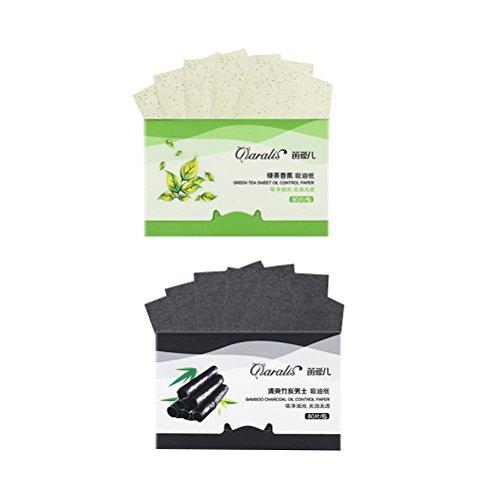 FRCOLOR 2 pacchi di carbone vegetale facciale carta assorbente fogli di olio di tè verde assorbente per le donne degli uomini