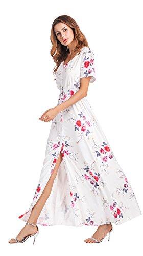 Clasichic Damen Blumen MaxiKleider V-Ausschnitt Strandkleid Sommerkleid Weiß