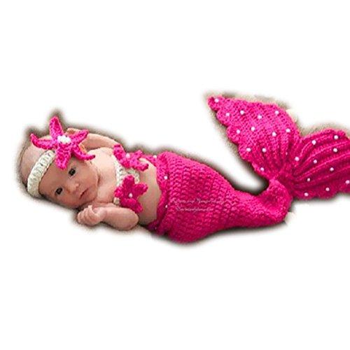 ARAUS Baby Fotografie Requisiten Strickwoll Meerjungfrau Seestern Mädchen Kostüm Outfits für Kinder 0-4 Monate