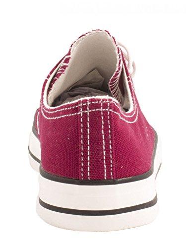 Elara Unisex Sneaker | Bequeme Sportschuhe für Damen und Herren | Low top Turnschuh Textil Schuhe 36-46 Bordo Rot