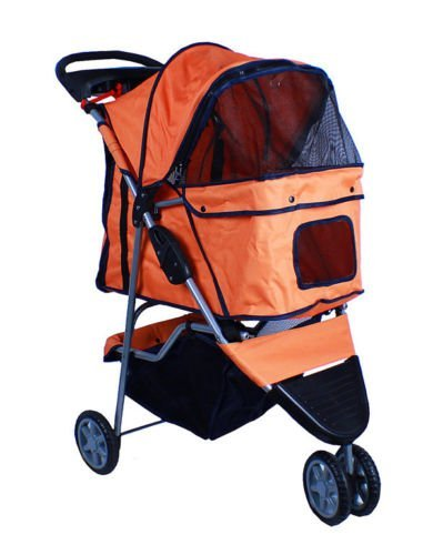 new-deluxe-folding-3-wheel-pet-dog-cat-stroller-carrier-w-cup-holder-tray-orange-by-cielo-blue