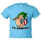 Camiseta niño Atlético de Madrid oso y escudo personalizable con nombre - Celeste, 5-6 años