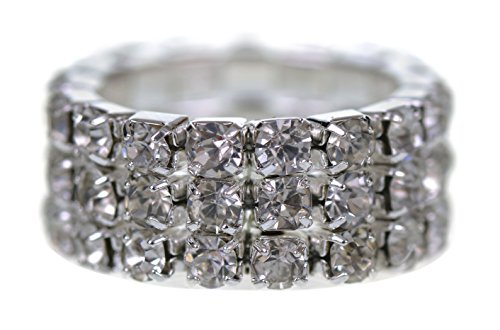 Price comparison product image GORGEOUS 3 ROW DIAMANTE CRYSTAL STRETCH RING