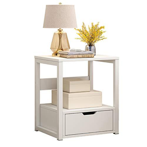 XYW-Bedside Tables Nachttische weiß Mädchen Schlafzimmerzubehör Möbel mit 1 Schubladen Möbel Kommode Aufbewahrungsregal 009