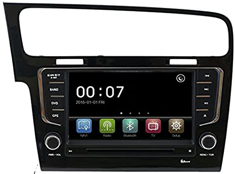 AUTORADIO NAVICEIVER VOLKSWAGEN GOLF 7 BLACK BLUETOOTH GPS USB SD MP3 DIVX DVD FULL HD CAPACITIVE JFSOUND CAPACITIVE SCREEN 4X65W BLUETOOTH AUDIO PHONEBOOK MP3 DVD MPEG4 CD AUX REAR CAMERA INPUT HIGH QUALITY PERFECT (Mpeg4 Audio)
