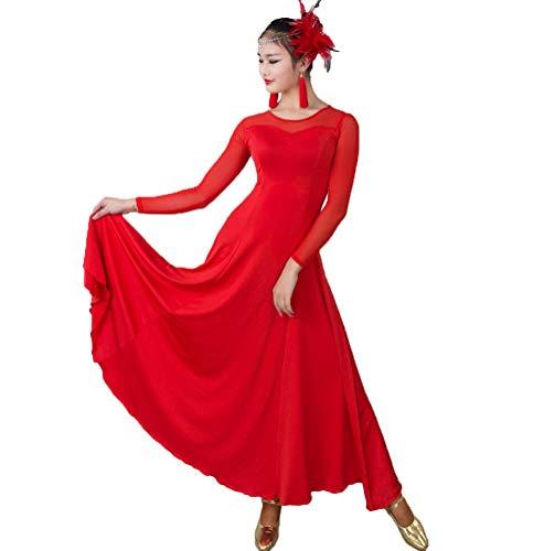 HAOBAO À Manches Longues Couture de Manches de Maille Pratique de Danse Moderne Autour du Cou/Robes de Formation, Tenue de Danse Nationale Standard Vêtements de Danse de Salon, XXL