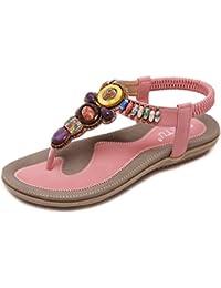 Super Lee Sandalias de Verano Mujer Sandalias Planas Bohemia Moda Sandalias Romanas Retro Elegantes con Cuentas Dedo del Pie del Clip Zapatos