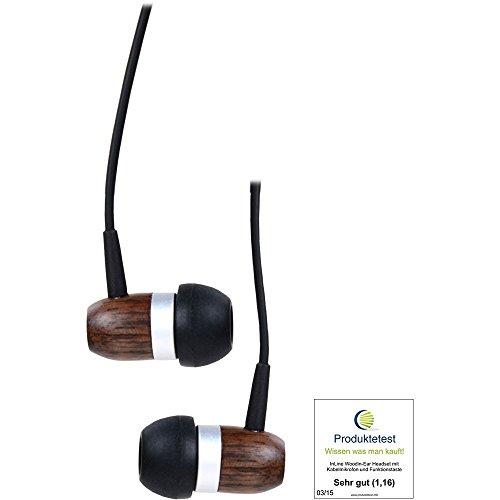 InLine 55357 woodin-Ear Headset mit Kabelmikrofon/Funktionstaste walnuß