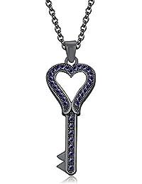 "Silvernshine 1.35 Ct Blue Sapphire Heart Key Pendant 18"" Chain Necklace In 14K Black Gold Fn"