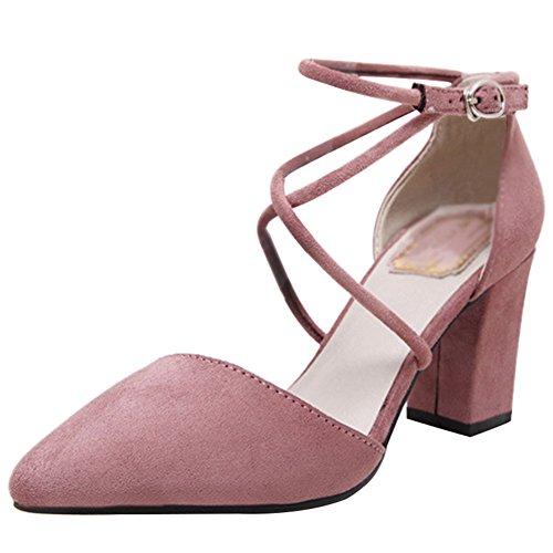 Confort Multi flangiato Camoscio Heels Cinturino Rosa Donna Caviglia Alla Wealsex Alta Slingbacks Significa Blocco 45z8qwYOx