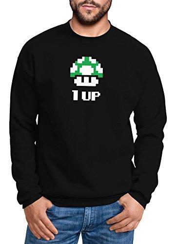 MoonWorks Sweatshirt Herren Geburtstag Retro Pixel-Pilz 1-Up-Pilz Level-Up Gaming Konsole 90er Rundhals-Pullover schwarz S - Retro-gaming-pullover
