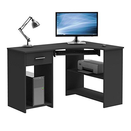 CARO-Möbel Schreibtisch Silvia Eckschreibtisch Computertisch, in Schwarz, mit Tastaturauszug und Schublade, 117 x 74 x 78 cm
