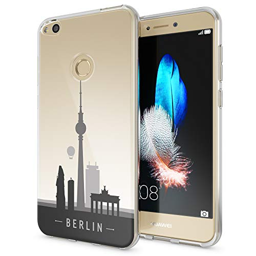 Berlin Design (NALIA Handyhülle kompatibel mit Huawei P8 Lite 2017, Motiv Design Slim Silikon Case Cover, Crystal Schutzhülle Handy-Tasche Dünn, Muster Etui Backcover Smart-Phone Hülle, Designs:Berlin Skyline)