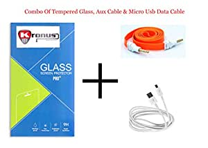 Kronus Micro Usb Data Cable, AUX Cable & 2.5D Curve edged Tempered Glass For Micromax Canvas Selfie 2 Q340