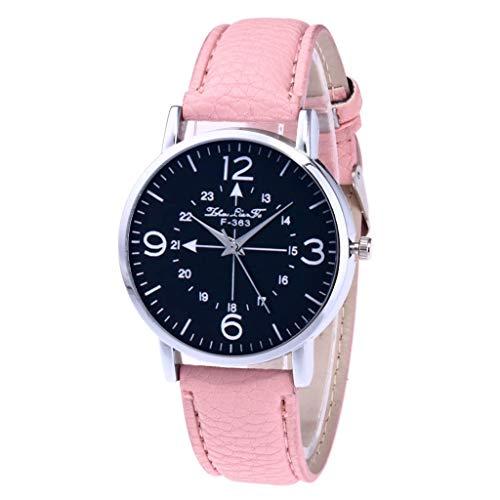 Uhren Fashion Cute Candy Farbe Damen Armbanduhr Kleid Uhr PU Rosa
