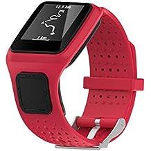De repuesto suave silicona Gel correa de banda de reloj pulsera Deporte Pulsera para TomTom Multi Sport/Cardio GPS correa running Smartwatch (un tamaño), rojo