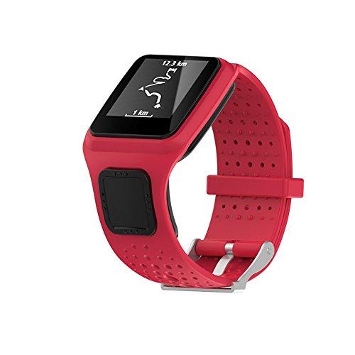 Ersatz Weich Silikon Gel Watch Band Strap Sport Armband für TomTom Runner/Multi Sport/Cardio GPS Strap Running Smartwatch (One Size), rot
