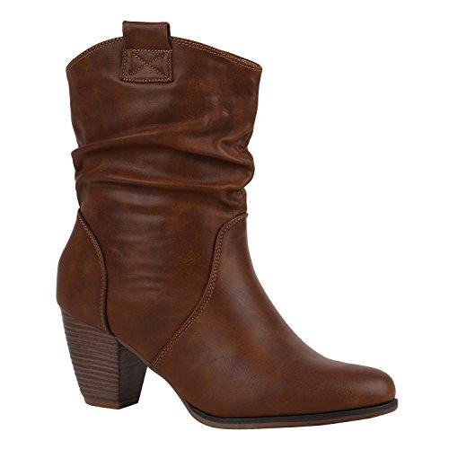 Damen Cowboy Stiefel Western Stiefeletten Leder-Optik Schuhe 151926 Hellbraun Carlet 39 Flandell (Cowboy Stiefel Western Leder)