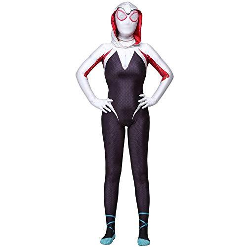 Kostüm Mann Spider Gwen - Spider-Gwen Cosplay Kostüm Schickes Kleid Kostüm Superheld Cosplay Weihnachten Halloween Frauen Spider Man Rollenspiel-Kleidung,Adult-XXL