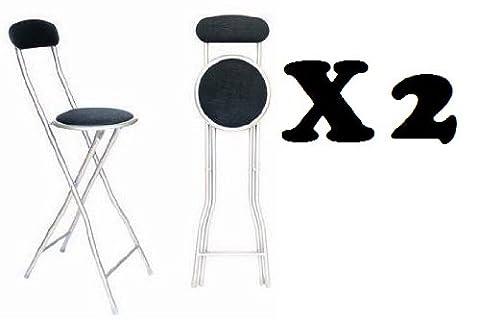 Bs Lot de 2 chaises/tabourets de bar pliants Noir pour une fête la maison le bureau Tabouret de petit-déjeuner