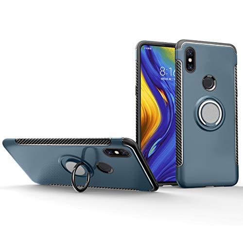 Botongda Funda Xiaomi Mi Mix 3,Cubierta de protección Antideslizante a Prueba de Golpes,Soporte de Anillo Giratorio de Metal Giratorio de 360 Grados para Xiaomi Mi Mix 3-Azul Claro