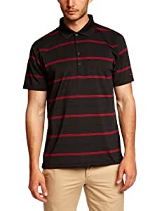 CALVIN KLEIN Golf Men's Engineered Stripe Polo Shirts - Black/Industrial Pink, Medium