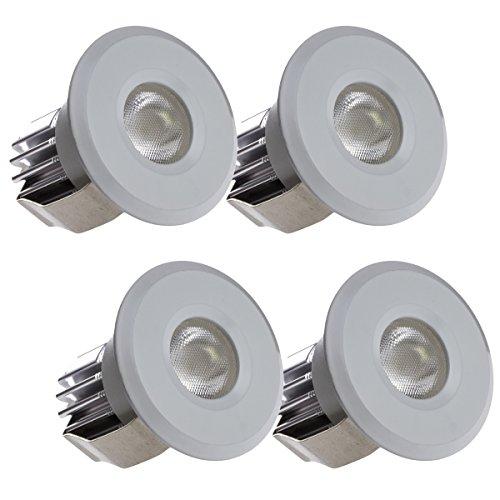Sensati Kleine Miniatur LED Einbauleuchte Downlight Spot Set zu 4 Stück, dimmbar, 600 lm, inklusive Treiber, Gehäusefarbe weiß, kaltweiß T102 4 CW W -
