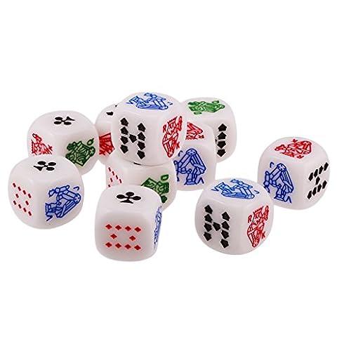 Gazechimp Lot de 10pcs 12mm Dés de Poker Six Faces en Acrylique Dice D6 pour Casino Poker Jeux de Société