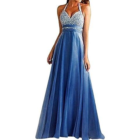 SaiDeng Vestido De Novia Elegante Ropa De Boda V Cuello Sin Espalda Maxi Falda Azul L