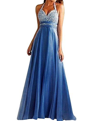 SaiDeng Vestido De Novia Elegante Ropa De Boda V Cuello Sin Espalda Maxi Falda Azul XL
