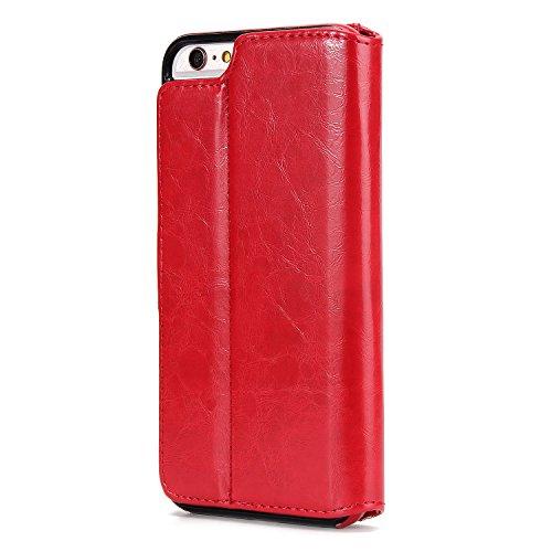 BCIT iPhone 6 Plus Custodia - [Staccabile funzione] Portafoglio 2 in 1 PU di cuoio pelle con supporto carte di credito in Piedi caso Case per iPhone 6 Plus - Blu Rosso