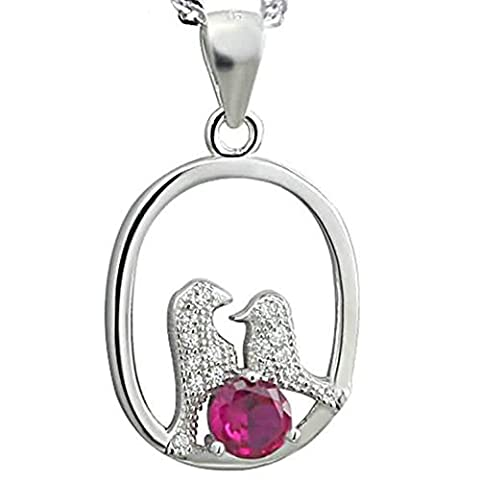 Epinki Women Girls 925 Sterling Silver Necklace Crystal Bird Mom and Child Love Symbol White