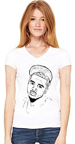 Chris Brown Stencil Damen V-Ausschnitt T-Shirt XX-Large