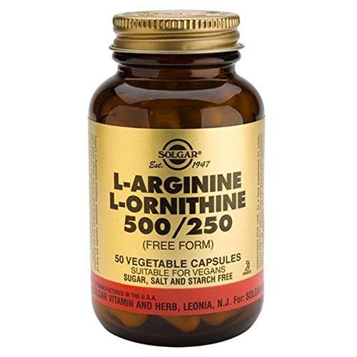 Solgar L-Arginine 500 mg / L-Ornithine 250 mg Vegetable Capsules – Pack of 50