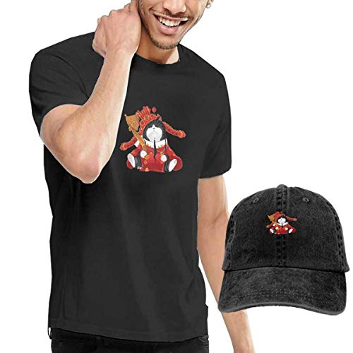 SOTTK Kurzarmshirt Herren, t-Shirts, Tee's, Fortune Cat Men's Cotton T-Shirt with Round Collar with Adjustable Baseball Cap -