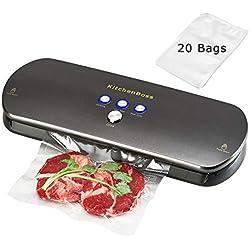 KitchenBoss Kit de Appareils de Mise sous Vide,Système Automatique de sous Vide, indicateur Intelligent de LED,Inclus 20 Pcs Sacs sous Vide (Gris Graphite)