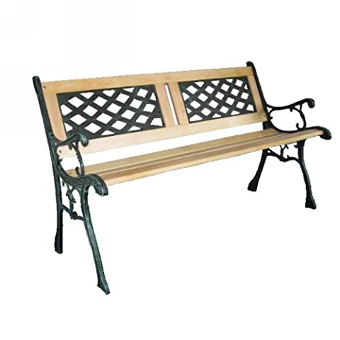 New 3 Seater Outdoor Wooden Garden Bench with Cast Iron Legs Park Seat Furniture Lattice with Slate Style