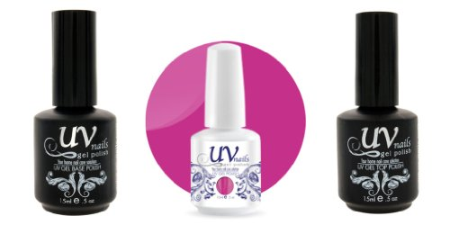 UV-Nails Vernis a Ongles Soak-Off Gel 15ml Forever Young #205 + Base & Top Coat 15ml + Aviva Polissoir a ongles