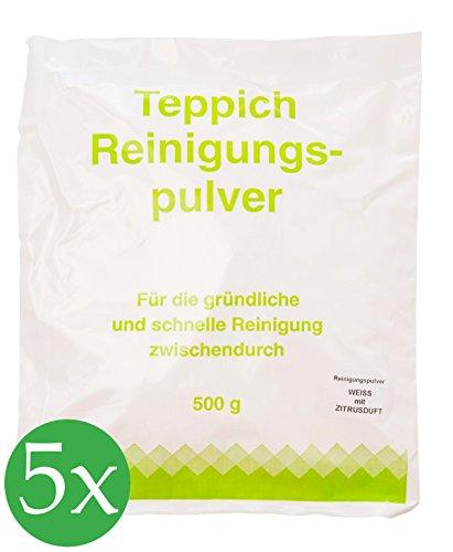 Vorratspackung 5x Teppichreinigungspulver geeignet für Vorwerk Teppichreiniger mit Zitrusduft 2500 Gramm für ca.100qm unbegrenzte Haltbarkeit -