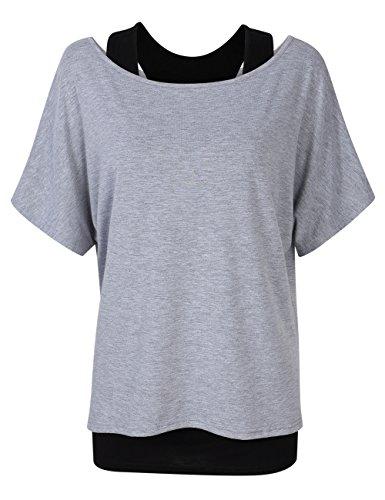 luse Asymmetrisch Sweatshirt Kurzarm Zweiteiliger T-Shirt Oversized Tops Dunkelgrau L (Schlanke Frau Kostüm)
