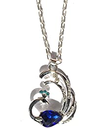 Glitz Fashion Silver Plated Designer Austrian Crystal Peacock Pendant Necklace For Women