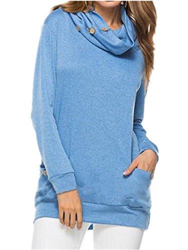 AILIENT Blouses Donna Elegante Maglie A Manica Lunga Autunno Top Alta Colletto Blusa Sciolto Puro Colore Maglietta Moda Casual T-Shirt Blue
