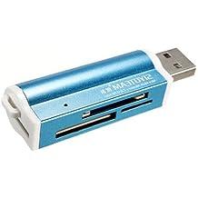 Lector de tarjetas de memoria (Micro SD MMC SDHC TF, USB 2.0), color azul azul azul