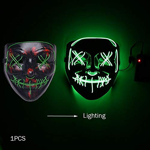 Kids Kostüm Dark Vampir - WSJDE Halloween Horror Maske Led Maske Glow In The Dark Kostüm Kids Spooky Carnival Mask Kostüm Party Dekoration Glowing Demon Evil   dunkelgrün