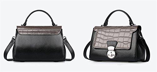 Xinmaoyuan Damen Handtaschen Leder Handtaschen Mode erste Schicht Leder Tasche Krokodil Muster Schulter schräg Tasche Damentasche, Rot Dunkelgrau