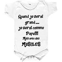 body bébé humour, comme papa mais avec des muscles,body coton, message humoristique pour papa,body bébé personnalisable, bodies bébé humour