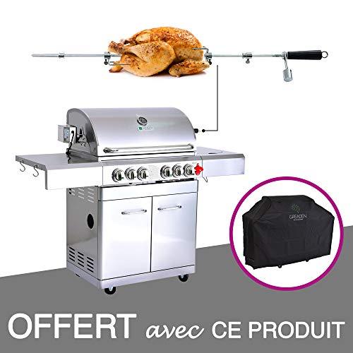 GREADEN- BBQ Grill Barbecue À Gaz INOX DÖNER- 4 BRÛLEURS+1 KIT RÔTISSOIRE (1 BRÛLEUR...