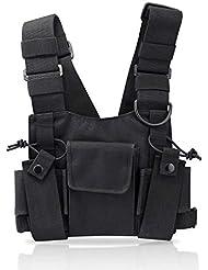 KEESIN Sacs de harnais de poche de poche de talkie-walkie de radio emballent le sac à dos Holster Radios bidirectionnelles Mallette de transport Accessoire Titulaire (Noir)