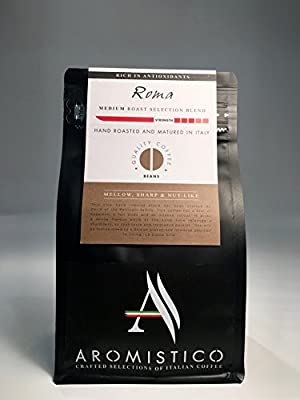 AROMISTICO | Finest Smooth Medium Roast | Premium Italian Roasted Whole COFFEE BEANS | ROMA BLEND | For Pour-Over Drip, Espresso,Moka, Filter Cafetiere, Aeropress | DARK, MELLOW, SHARP & NUT-Like from Arca S.r.l
