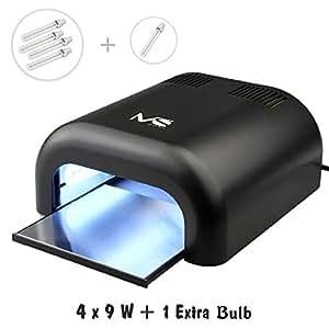 MelodySusie 36W Lampe UV à Ongles pour Gel UV avec Minuterie de 120s/180s/Infinie VIOLETII - Noir (4 x 9W Tube + Un Supplémentaire)